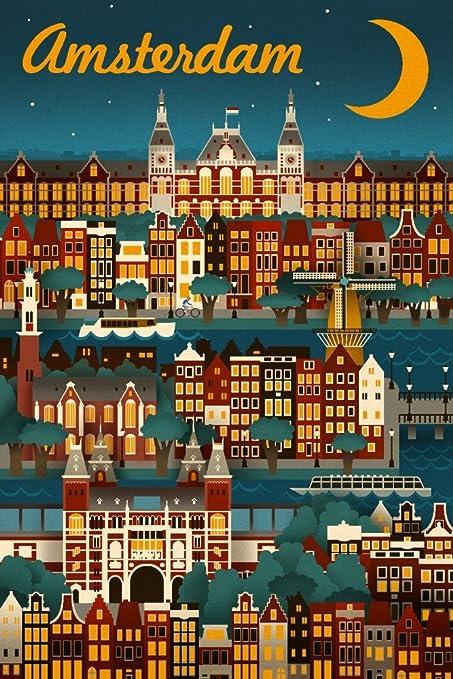 Amsterdam Retro Map Poster Modern Wall Art Print