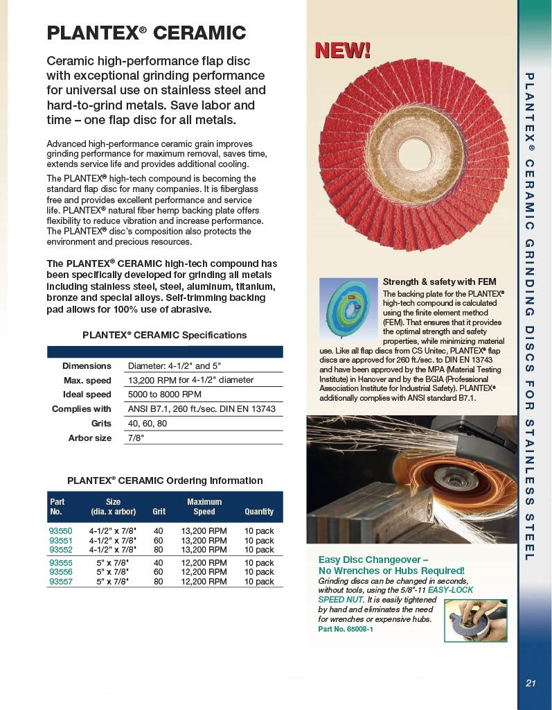 Pack of 10 60 Grit 7//8 Arbor CS Unitec 93551 PLANTEX Ceramic High Performance Flap Disc for Hard to Grind Metals 4-1//2 Diameter