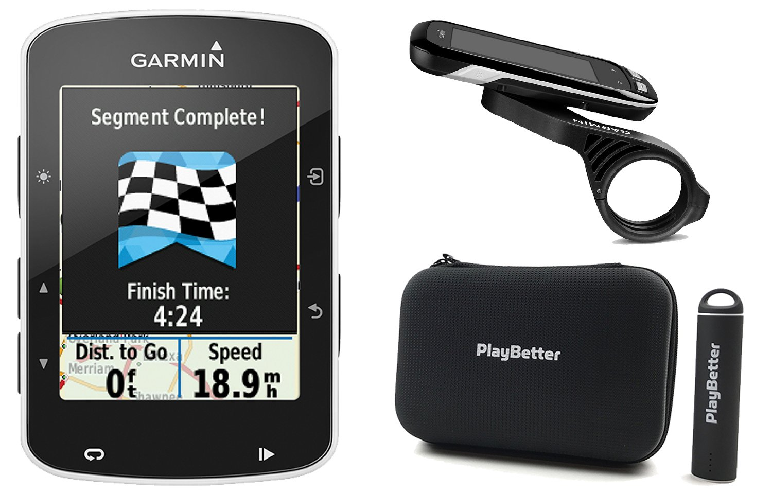 Garmin Edge 520 with PlayBetter Portable USB Charger, Hard Carrying Case, Bike Mounts & USB Cable POWER BUNDLE | High-Res Color Display | GPS Bike Computer by PlayBetter (Image #1)
