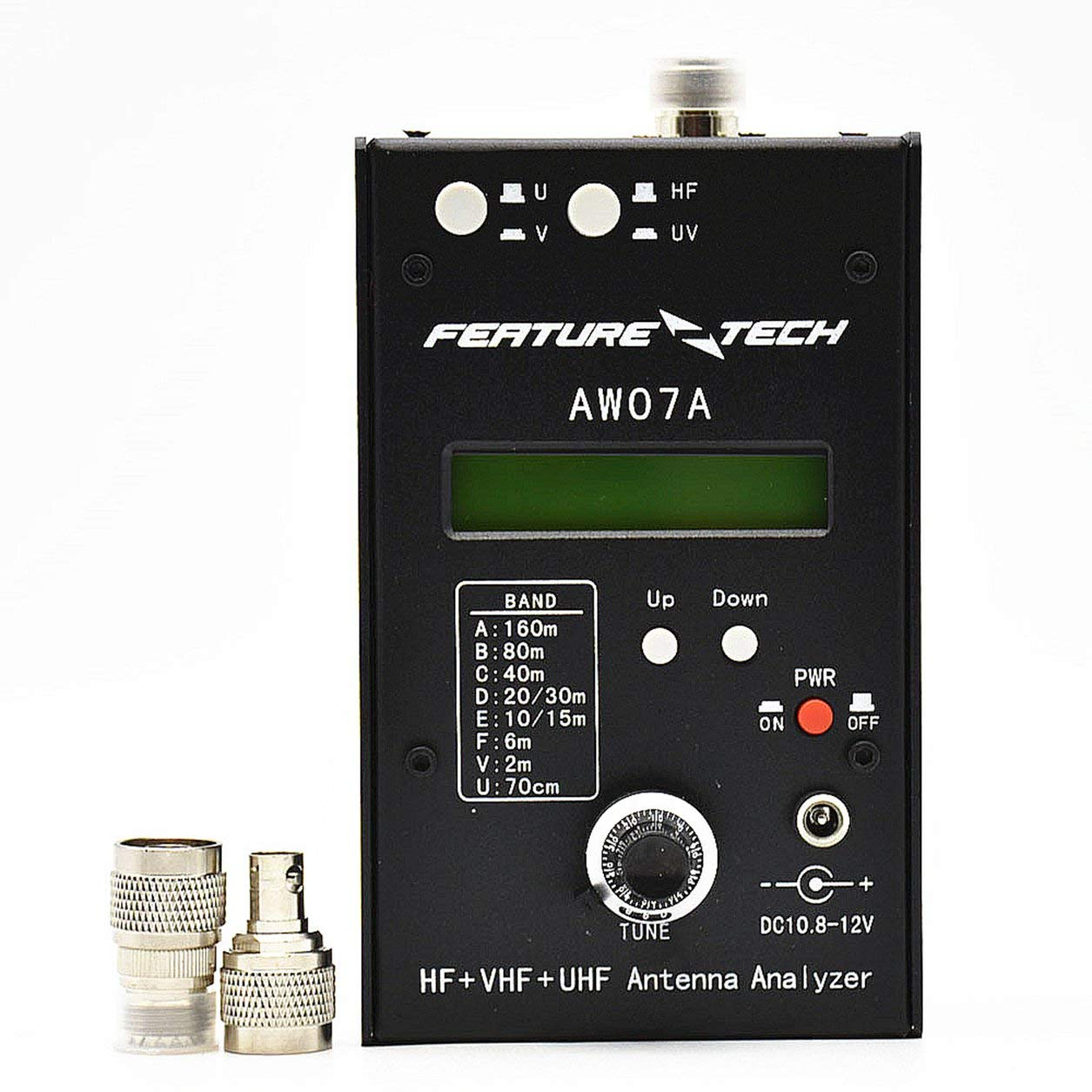 AW0 7Aの周波数計RA-07A SWR HF VHF UHFアンテナインピーダンスアナライザメーター、ブラック B07MZQ26JM