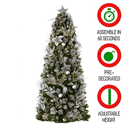 75 ft easy set up christmas tree pre lit and decorated with shimmering frost decor - Small Pre Decorated Christmas Trees