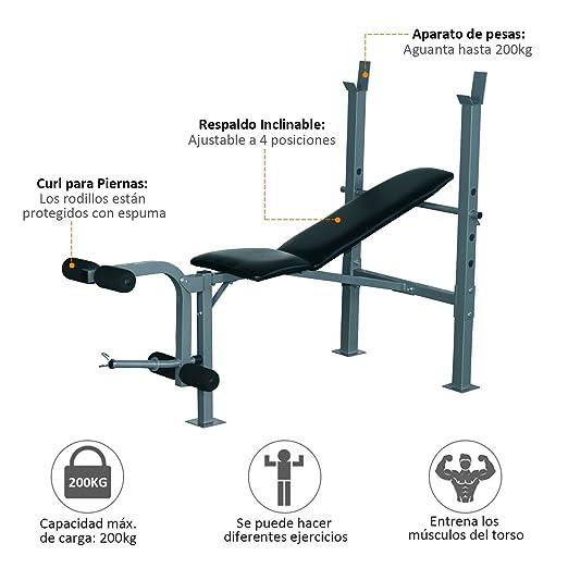 HOMCOM Banco de Musculación Banco de Pesas Maquina de Fitness Entrenar Musculos 165x68x114cm con Respaldo Regulable Espuma: Amazon.es: Hogar