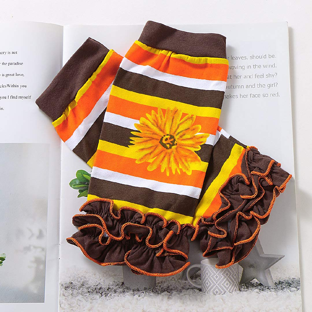 4Pcs//Set My First Thanksgiving Outfit Baby Girl Long Sleeve Romper Tutu Skirt Headband Leg Warmers Thanksgiving Clothes