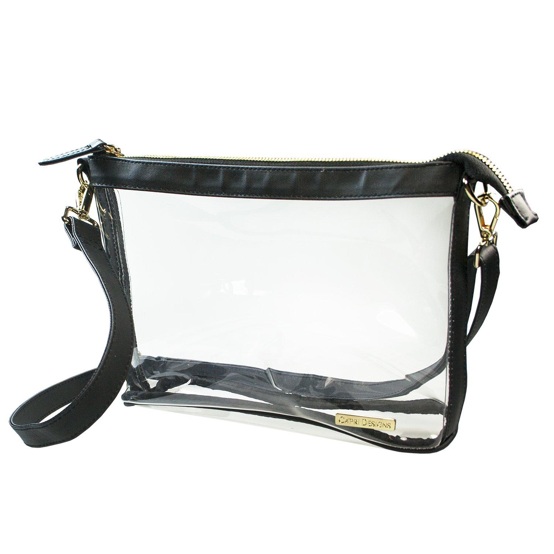 Capri Designs Large Crossbody Purse - Black & Clear Premium Crossbody Bag