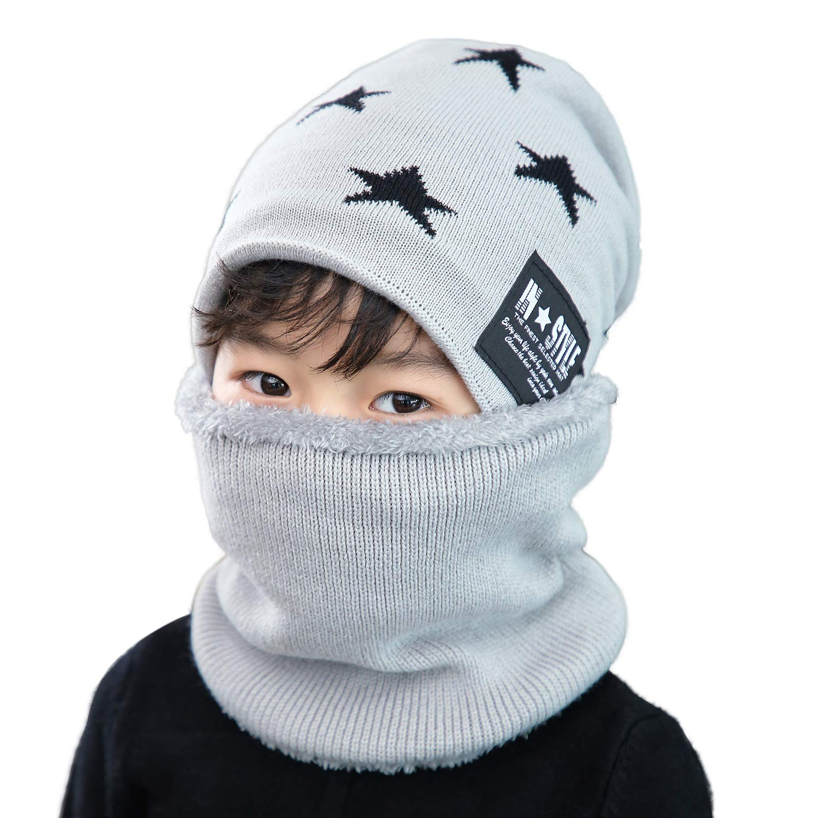 Flammi Knit Beanie Scarf Set Fleece Lined for Boys Girls Warm Snow Ski Skull Cap (Light Grey)