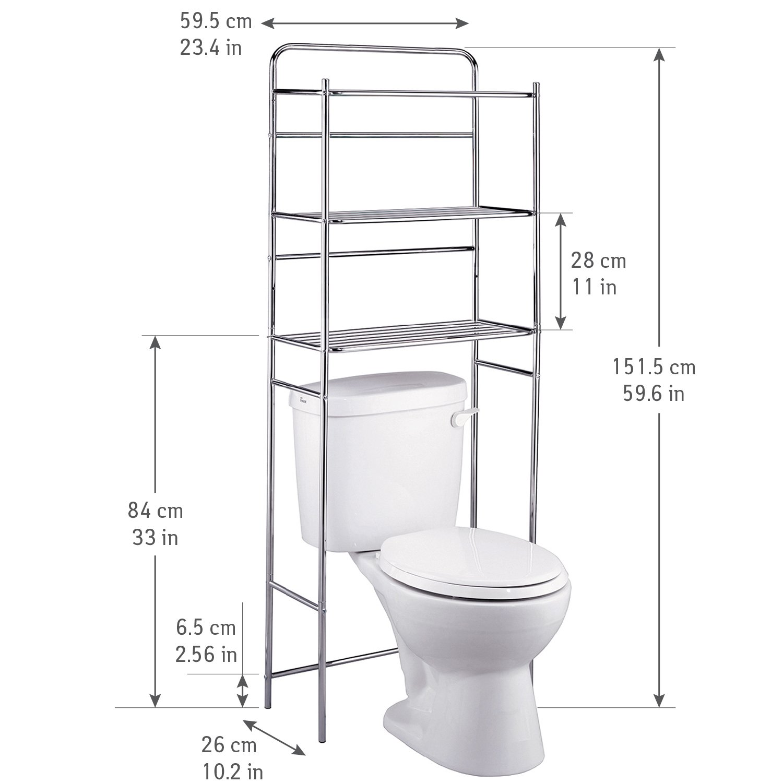 59.5 x 26 x 151.5cm Tatkraft Tanken-Estanteria WC con estantes para ba/ño Metal Cromado