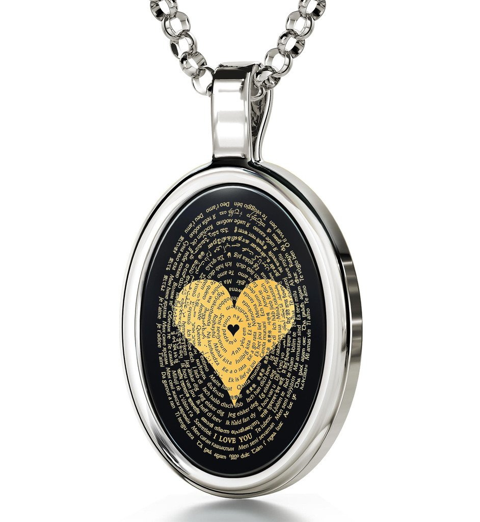 925 Sterling Silver Love Necklace Inscribed with I Love You in 120 Languages on Onyx Pendant, 18'' Chain by Nano Jewelry (Image #3)