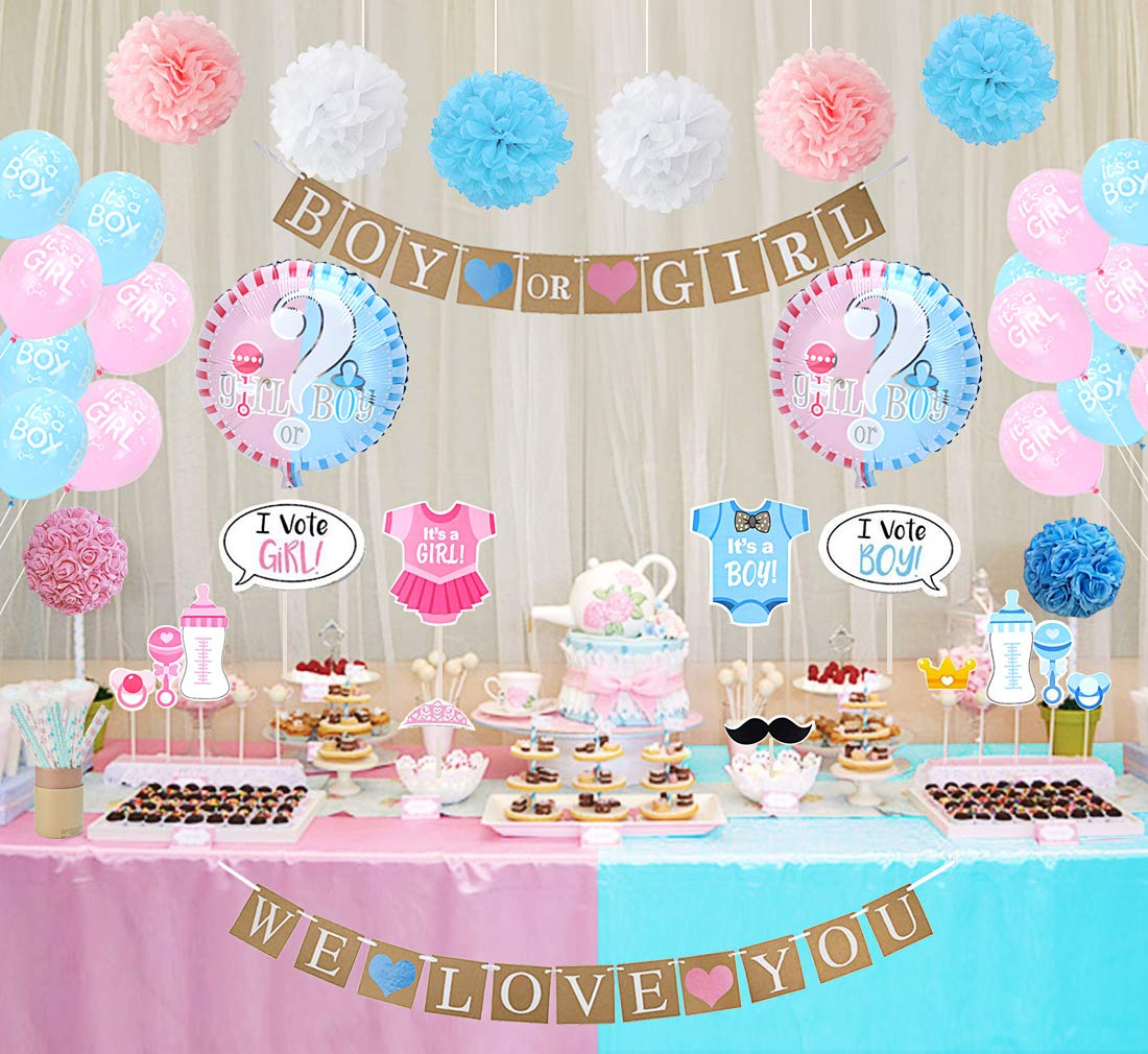 25a27633511d Amazon.com  Gender Reveal Party Decorations Boy or Girl Gender Reveal  Balloons Photo Booth Props Straws for Baby Shower Decorations 84 Pack  Toys    Games