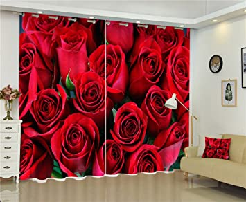 Chlwx Rosa Blüten Betten Wohnzimmer Wohnen Luxus 3D Gardinen Set Für Office  Hotel Home Wand