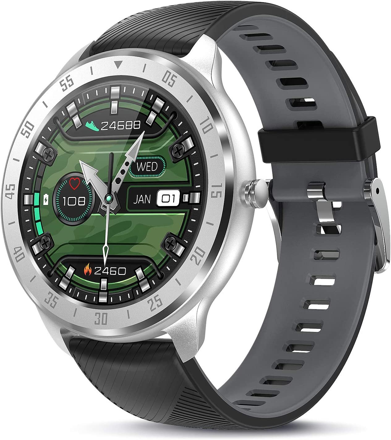 TagoBee Smartwatch Reloj Inteligente Hombr Mujer IP67 Pulsera Actividad con Monitor de Sueño Pulsómetros,1.3inch Pantalla Táctil Completa Reloj Deportivo Hombre con Podómetro Caloría para Android iOS