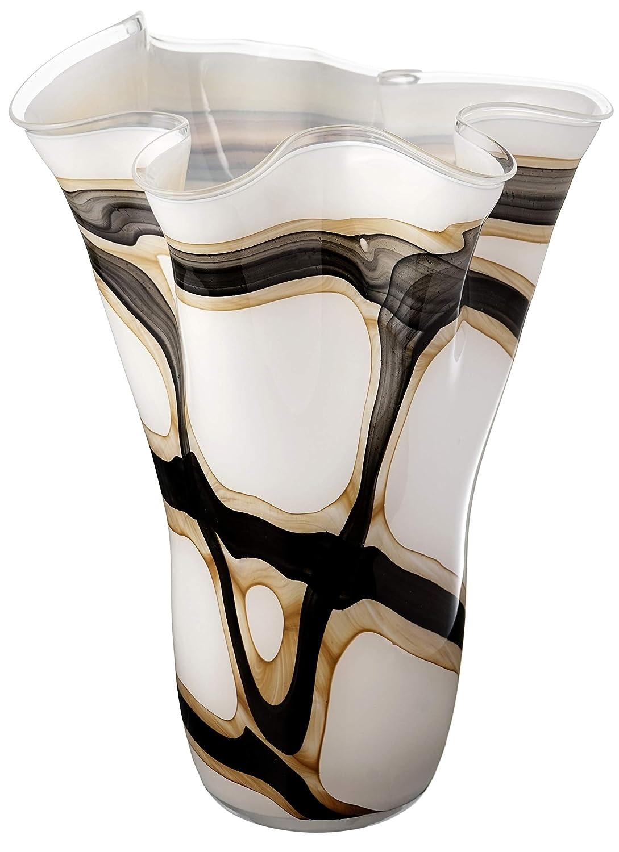Nero e Marrone/ Anna Exclusive Decor Realizzato a Mano /Bianco Grande Fazzoletto Vaso in Vetro/ /34/cm