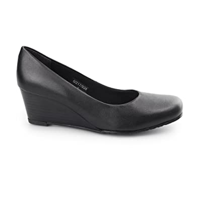 e6c30540fa7 Comfort Plus MARGO Ladies Leather Wide Fit Wedge Heels Black UK 5 ...