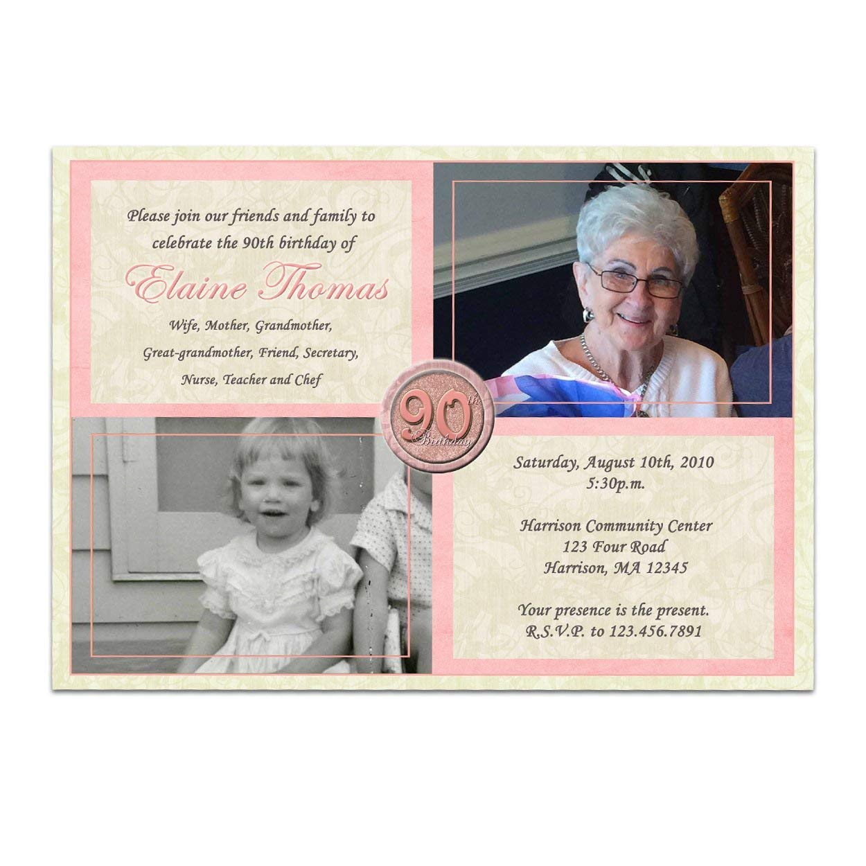 Amazon Pink Woman Photo Birthday Invitations 90th 80th 70th 60th Then Now Handmade