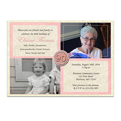 Amazon Pink Woman Photo Birthday Invitations 90th 80th 70th