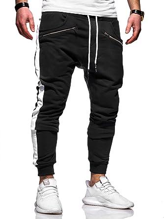 behype. Herren Lange Trainingshose Jogging-Hose Sport-Hose Zipper Side-Stripe 60-0361