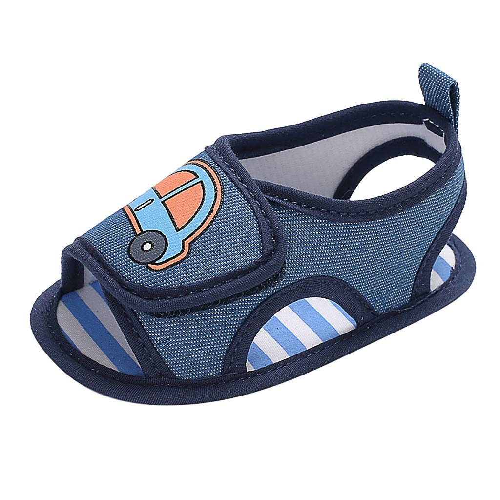 Tantisy ♣↭♣ Baby Shoes Boys Infant Newborn Baby Cartoon Car Single Shoes Outdoor Slippers Non-Slip Soft Sole Sandals Blue