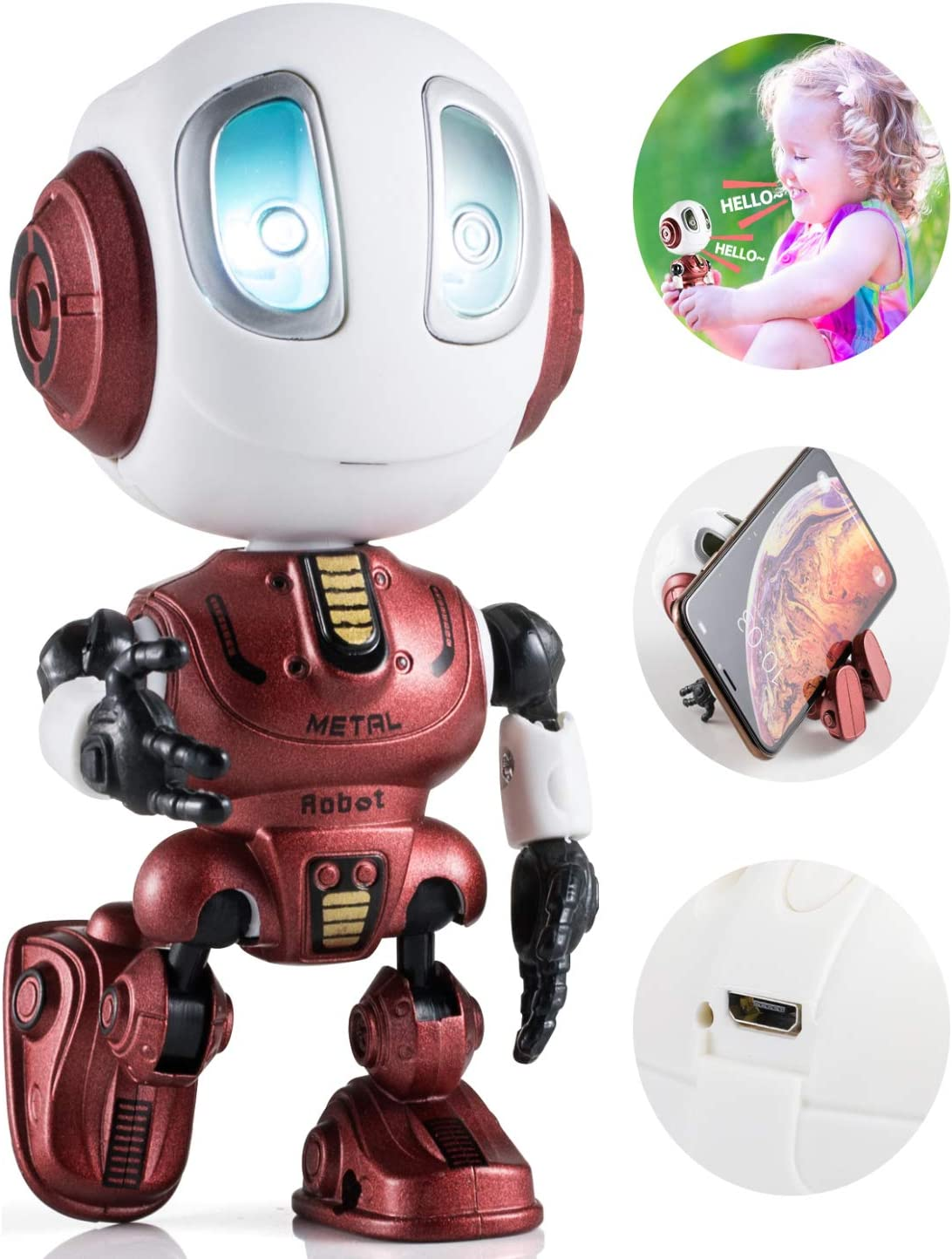 Mini Robot Talking Toys for Boys and Girls- Travel Toys Help Kids Talking for Christmas Stocking Stuffers BROADREAM Robot Toys for Kids LED Lights and Interactive Voice Changer Red