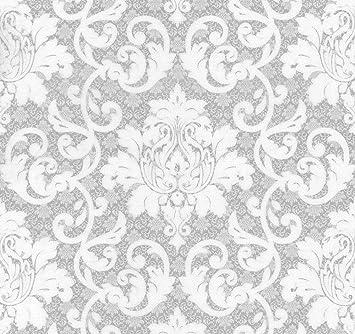 Barock tapete weiß silber  Vlies Tapete Barock Muster Ornament silber grau weiß metallic ...
