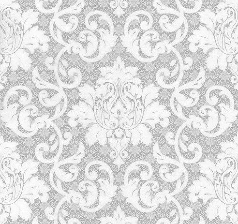 Vlies Tapete Barock Muster Ornament Silber Grau Weiß Metallic