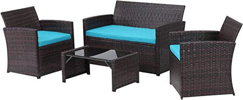 Klismos 4 Piece Patio Furniture Set Outdoor Wicker Chair Rattan Sofa Conversation Sets,Fade-Resistant Cushions,Tempered Glass Coffee Table Brown Rattan and Blue Sofa