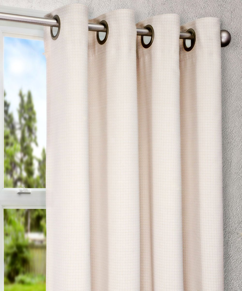 Ellis Curtain Landis Mini Check Textured Weave Grommet Top Lined Curtain Panel, 54 by 84-Inch, Natural - Subtle mini check weave pattern and texture coordinates nicely with the other elements within your home decor without being too bold or overpowering Made from a 60-Percent polyester/40-Percent cotton blend that resists wrinkling and creates a nice draping effect Constructed with 8-grommets sewn into a 3-inch header; Exceptionally easy to hang on decorative rod; pull very smooth while opening and closing - living-room-soft-furnishings, living-room, draperies-curtains-shades - 71B xxnZB9L -