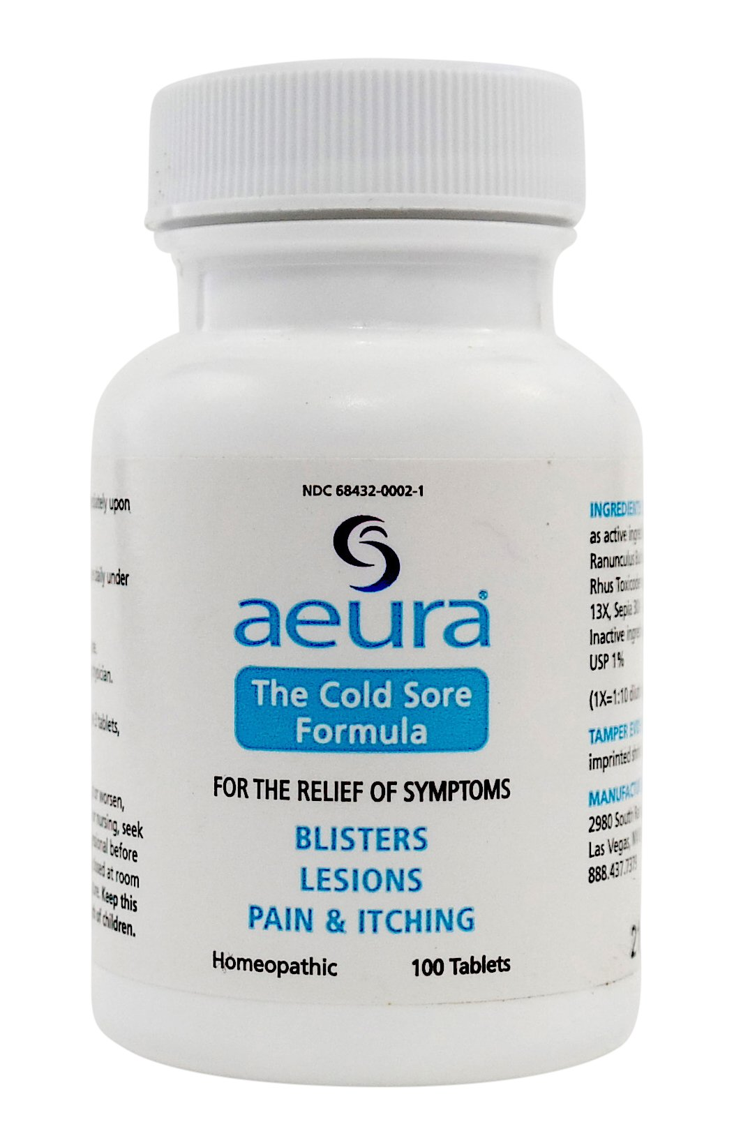 Aeura - The Cold Sore Formula - Cold Sore Outbreak Relief & Prevention - Safe & Effective, ALL-NATURAL Tablets