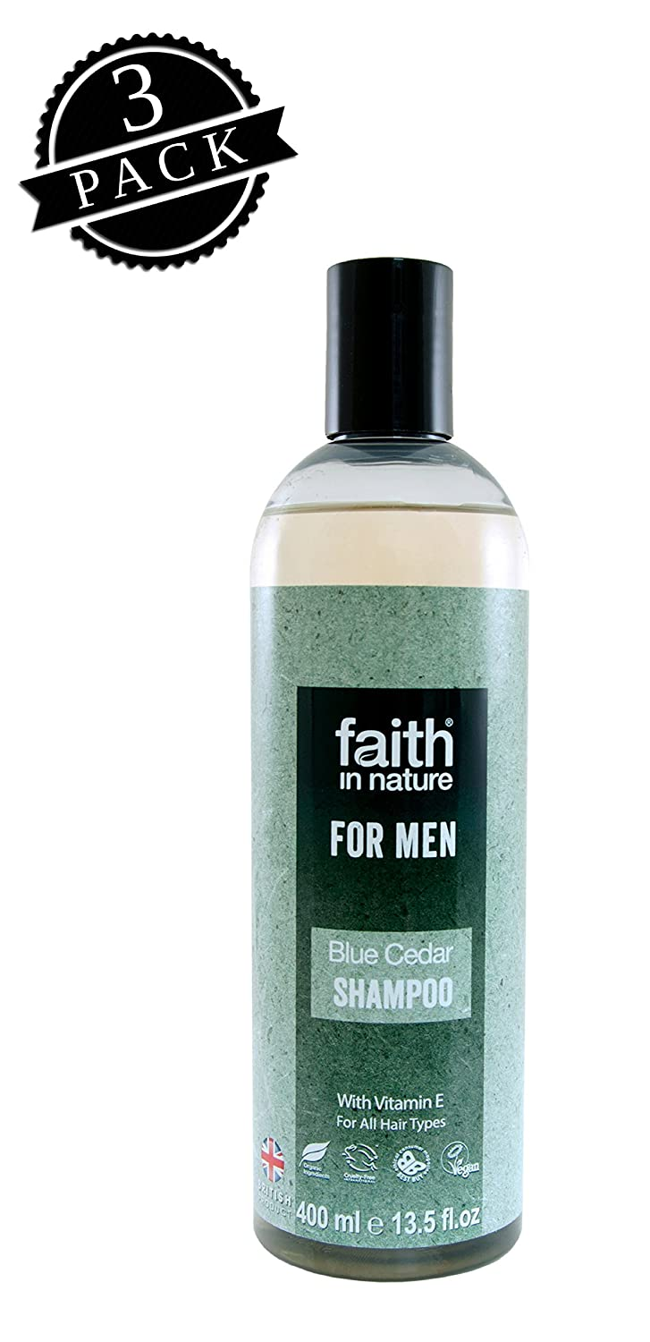 Faith in Nature Shampoo for Men, Blue Cedar (400 ml Bottle, 3-Pack); All-Natural Hydrating Hair Care for Dry, Normal and Oily Hair w/Organic Green Tea and Vitamin E, Vegan & Cruelty-Free