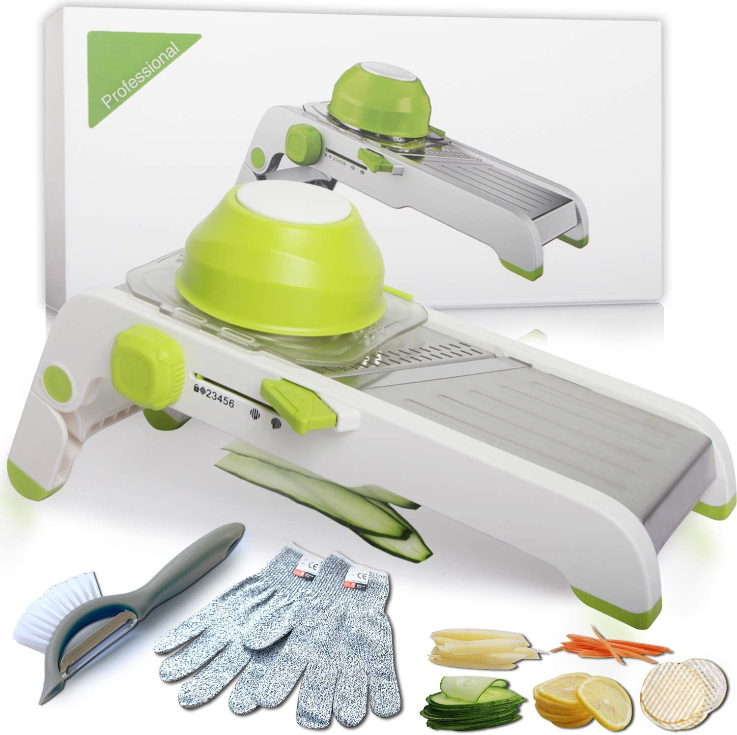 Kitchen Potato Slicer, Adjustable Stainless Steel Safety mandoline Slicer for Vegetable Foods Waffle Fried Patato Chips Onion Tamato with Blade Cleaning Brush Peeler and Cut-Resistant Gloves