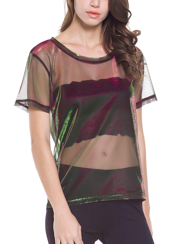 Perfashion colorful Fine Mesh Shirt Metallic Shimmer See Through Shirt For Women, Green Red, X-Large by Perfashion (Image #3)