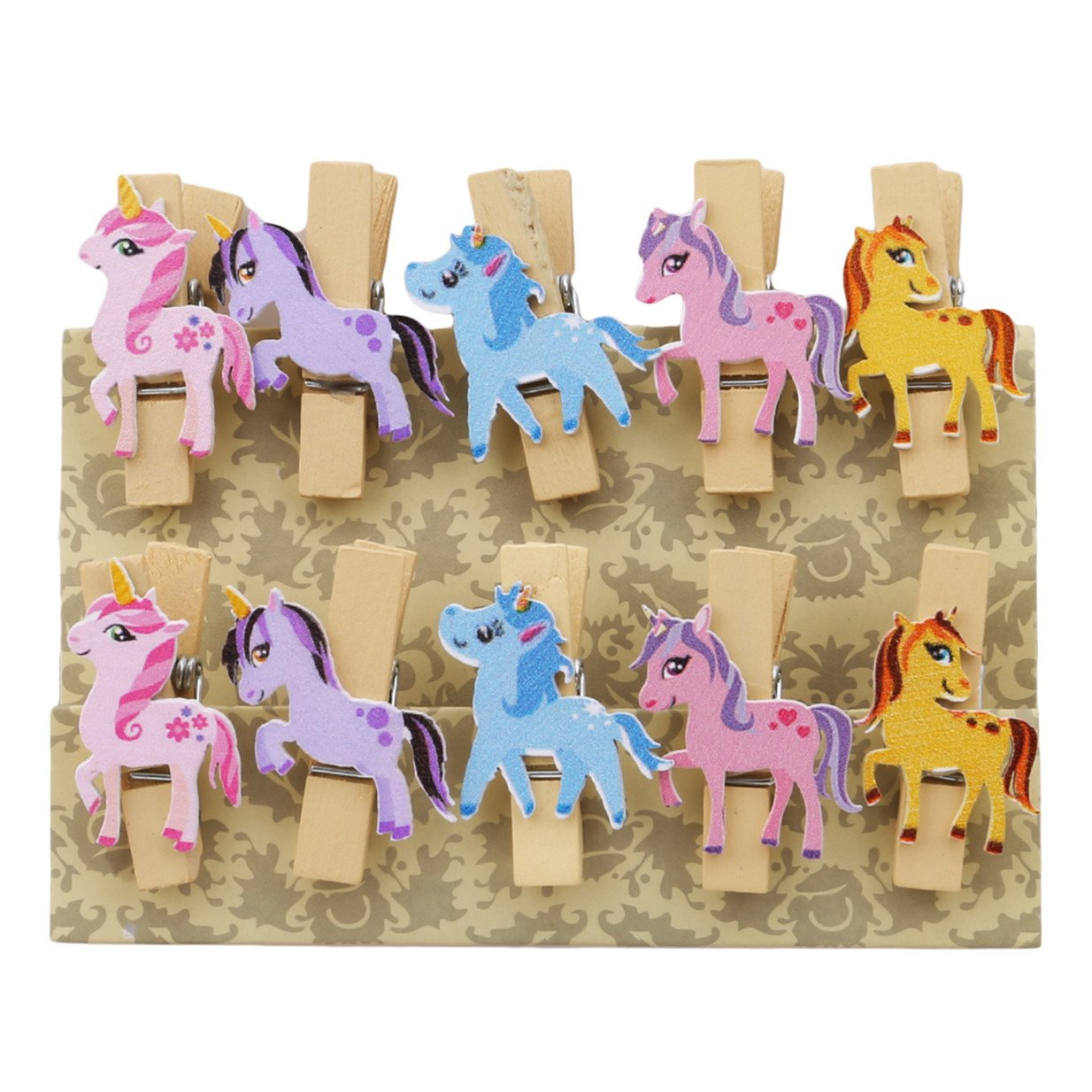 EJY Arts & Crafts 10pcs Craft Wooden Mini Pegs Unicorn Wooden Photo Clips 88_Store