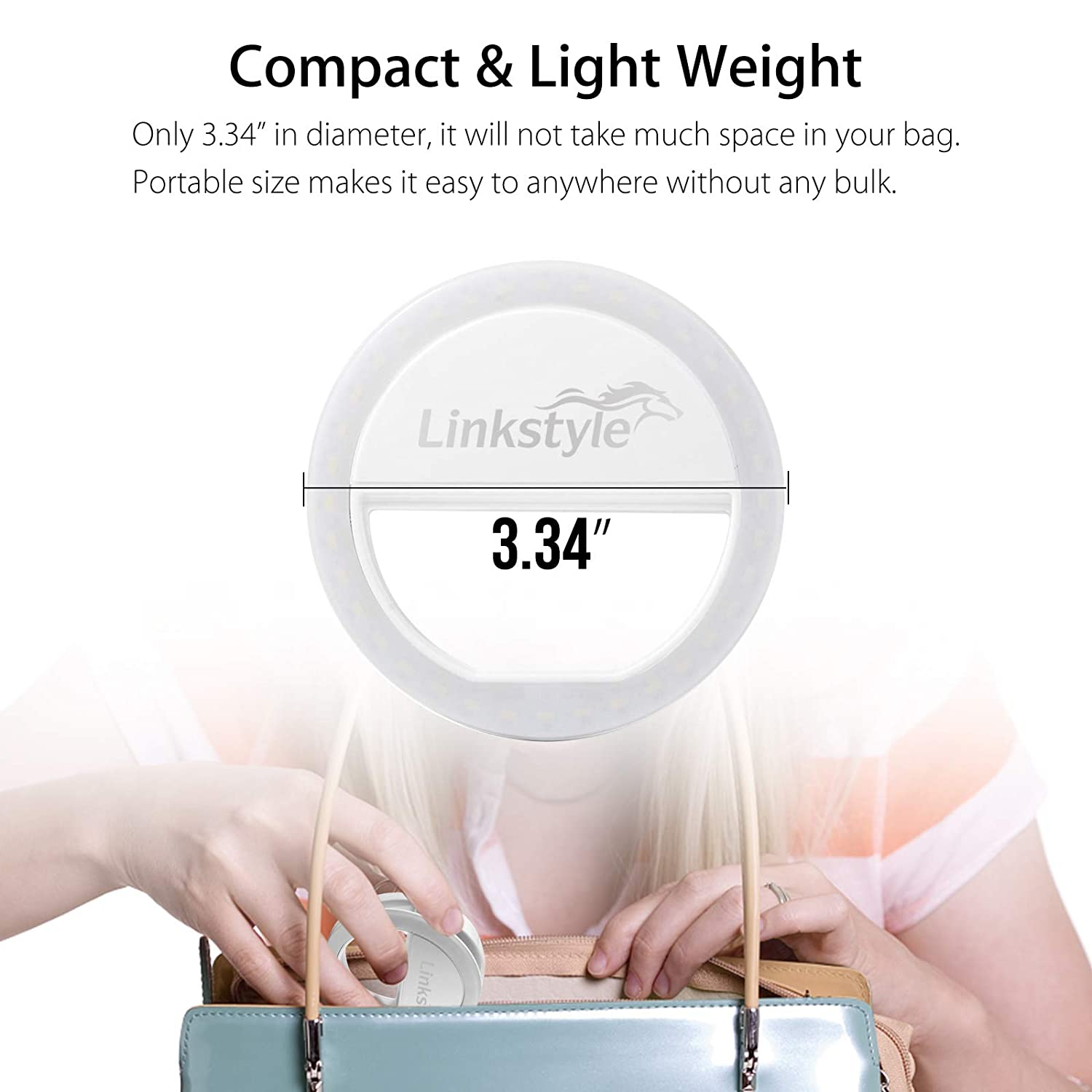 Linkstyle 2 Pack Clip on Selfie Ring Light Rechargeable 36 LEDs 3 Level Brightness Light for Cell Phone