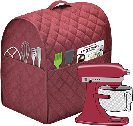 Cloth Cover with Pockets for KitchenAid Mixers and Extra Accessories Dust Cover with 4.5-5 Quart KitchenAid Mixers Fits for 4.5-Quart and All 5-Quart, Wine Red