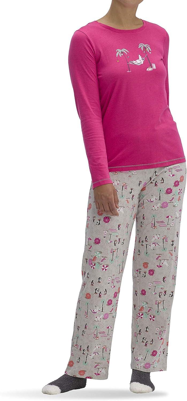 HUE Women's Printed Knit Tee and Pant 3 Piece Pajama Set
