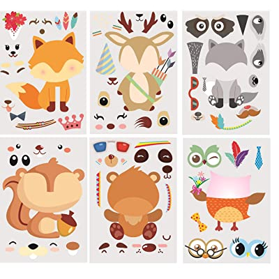 30Pack Make A Woodland Creatures Stickers - Party Supplies for Baby Shower Decorations & Birthday Party Supplies, Woodland Animals Include Fox, Owl, Bear, Squirrel, Deer, Raccoon (Woodland): Health & Personal Care