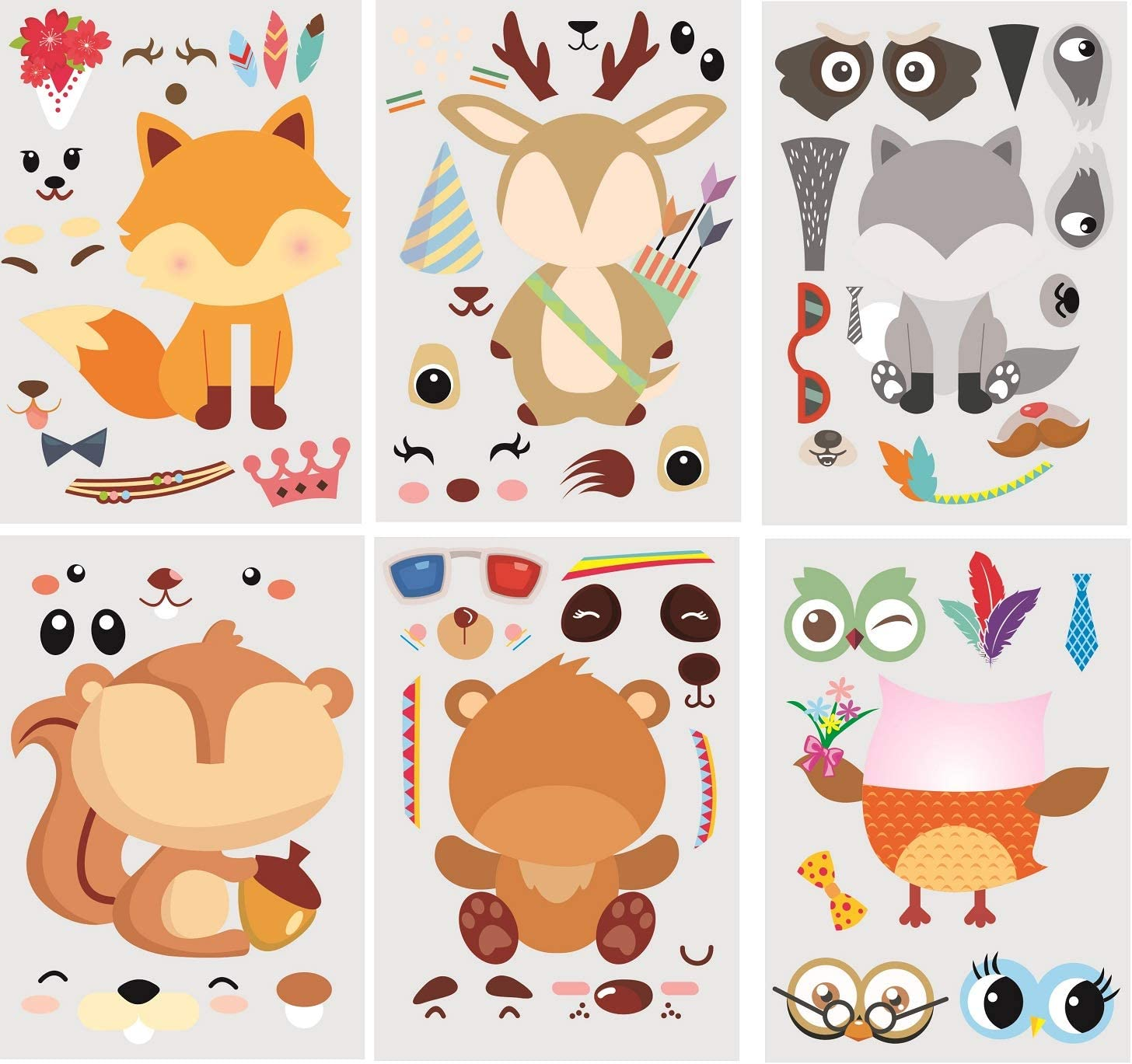 30Pack Make A Woodland Creatures Stickers - Party Supplies for Baby Shower Decorations & Birthday Party Supplies, Woodland Animals Include Fox, Owl, Bear, Squirrel, Deer, Raccoon (Woodland)