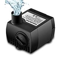 Submersible Water Pump, VicTsing Upgraded 80 GPH 300L/H Mini Ultra-Quiet Fountain Water Pump, 48 Hours Dry Burning Replacement Pump for Pet Fountains, Aquarium, Pond, Fish Tank, Statuary Water Pump Hydroponics with 4.6Ft (1.4M) Power Cord - Black