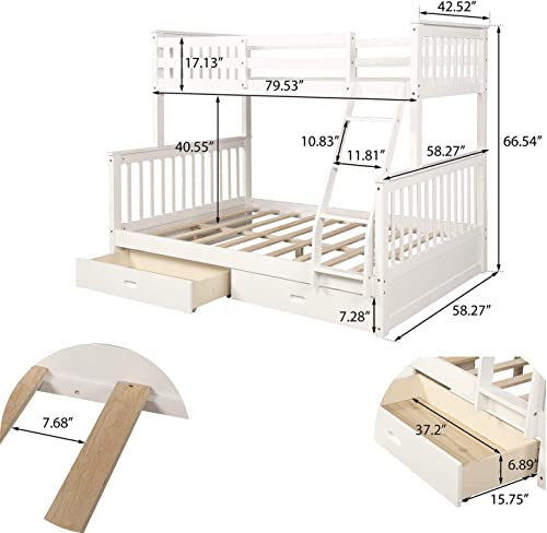 Bunk Beds for Kids, Twin-Over-Full Bunk Bed with Ladders and Two Storage Drawers Milky White