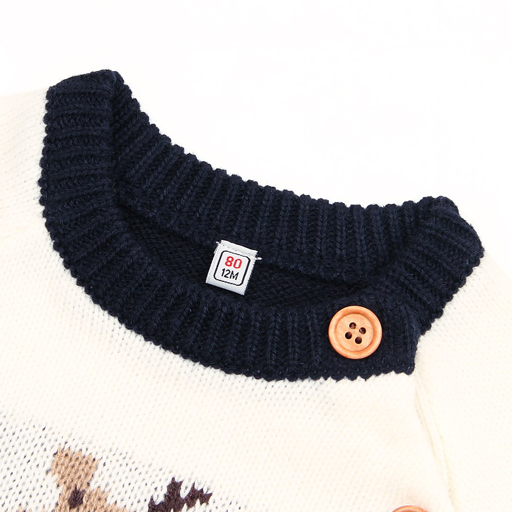 Infant Baby Pullover Sweater for Toddler Girl Boy Christmas Knit Sweatshirt Newborn Elk Button Up Top 0-24 Months