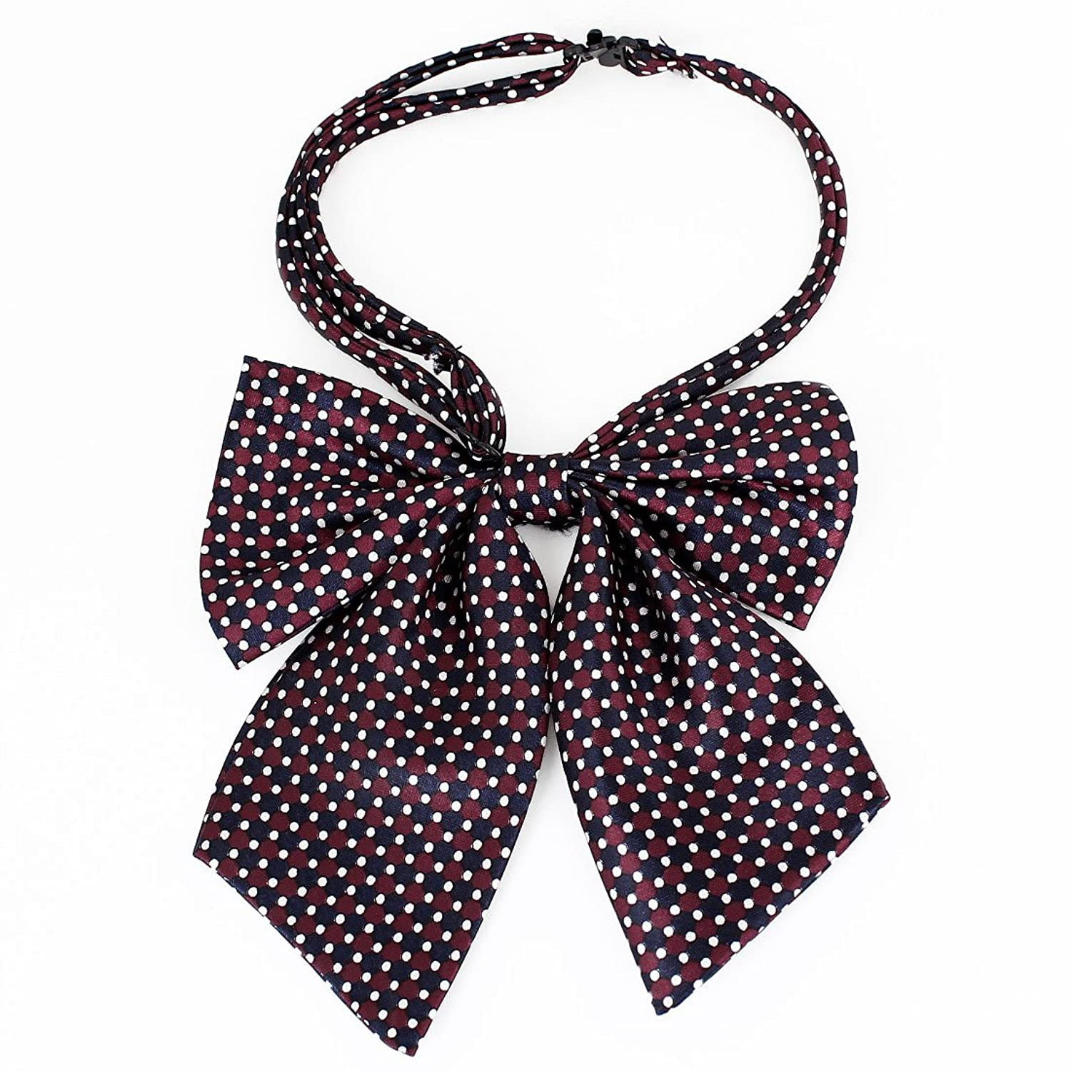 Portable Women Men Red Blue White Polyester Dots Pattern Halter Neck Bow Tie