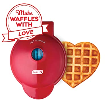 Dash DMW001HR Mini Maker Machine for Heart Shaped Individual Waffles, Paninis, Hash browns, other on the go Breakfast, Lunch, or Snacks, Red