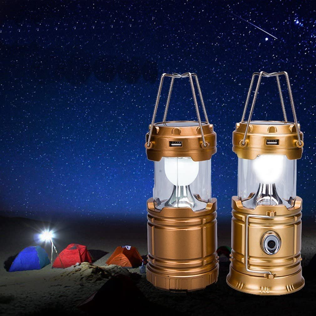 redorange Camping Lantern Lights Tactical Flashlight Solar Folding 6 LED Bright Lamp Emergency Tent Light for Outdoor Play Camp Hiking Fishing Portable Mini USB Supply Power to Phone