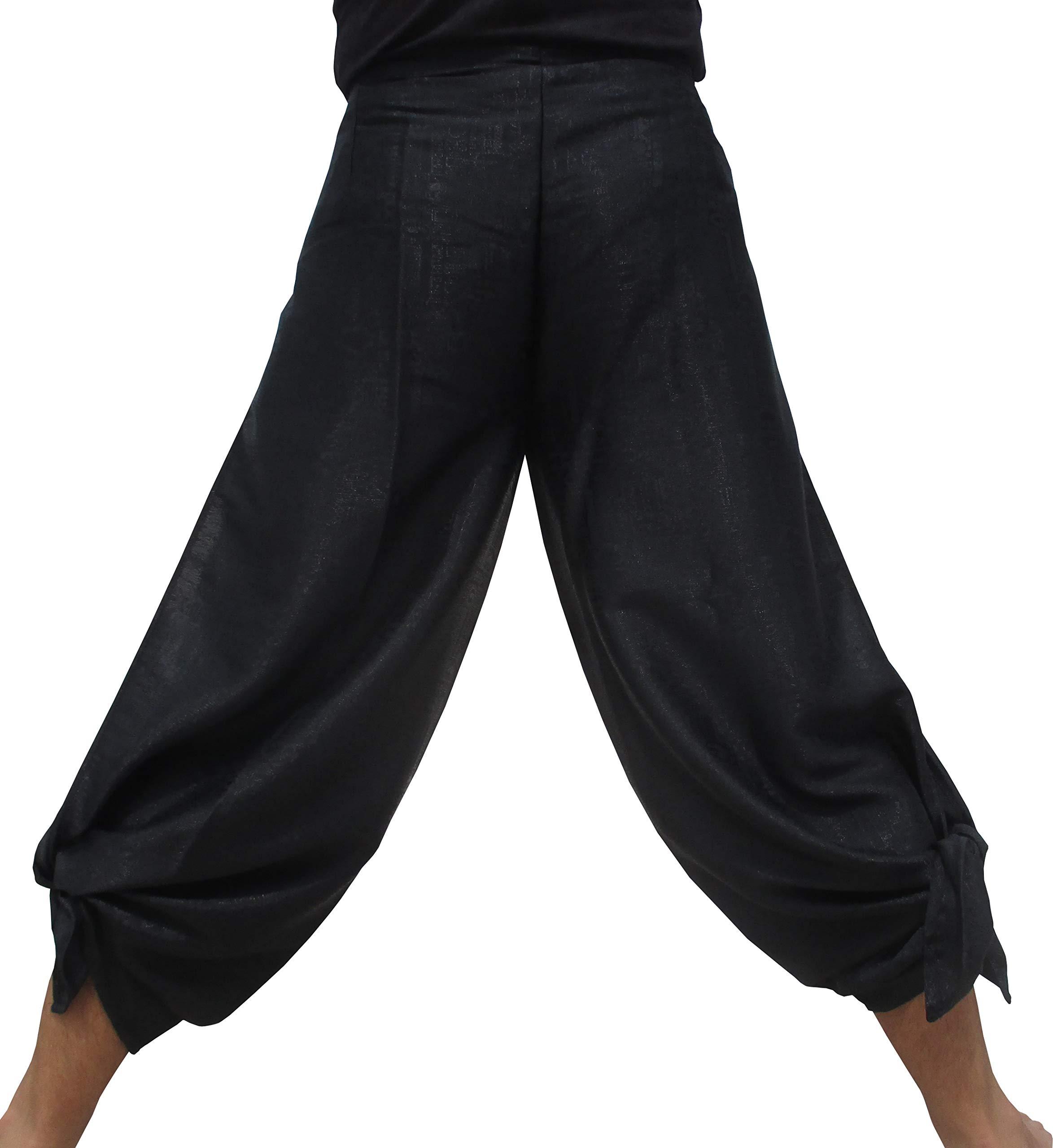 RaanPahMuang Brand Geometric Thick Textured Silk Drive in Wrap Pants, Medium, Black by RaanPahMuang