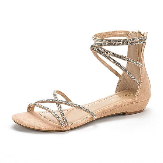 DREAM PAIRS Women's Weitz Ankle Strap Rhinestones Low Wedge Sandals