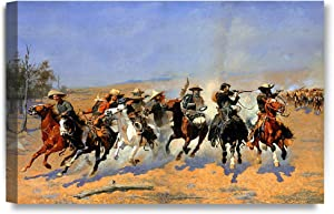 DECORARTS -A Dash for The Timber, Frederic Remington Classic Art Reproductions. Giclee Canvas Prints Wall Art for Home Decor 24x16
