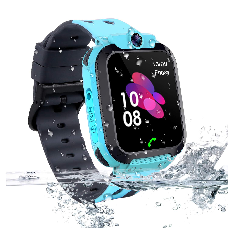 Vannico Smartwatch Niños, Reloj Localizador GPS Niños Impermeable Smartwatch con Linterna de Llamada SOS Cámara Pantalla Táctil Inteligente Smartwatch ...