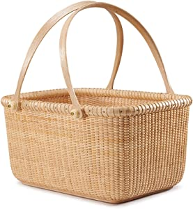 Teng Tian Basket Personal Tote Fruit Plates Storage Basket, Desktop Organizer, Woven Rattan, Chinese Traditional Handicrafts, Casual Style, Natural Environmental Protection