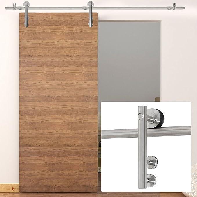 belleze 6.6 ft moderno interior puerta corrediza de granero Hardware puerta sólo pista, madera/cristal (acero inoxidable): Amazon.es: Bricolaje y herramientas