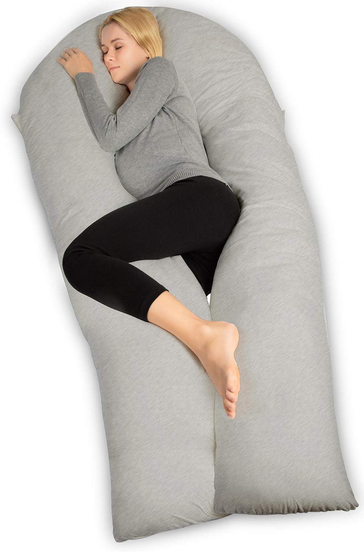 QUEEN ROSE Almohada con Forma de U, Almohada de Embarazo y Maternidad con Funda extraíble y Lavable (165 x 80 cm, Jersey, Gris)