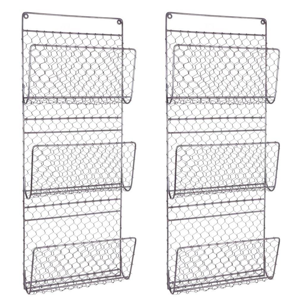 Montado en la Pared Tres Compartimento Revista Diario y almacenar–Ideal para la Cocina, Dormitorio o Cuarto de baño–H72x 29x 31x D8.5cm Dibor