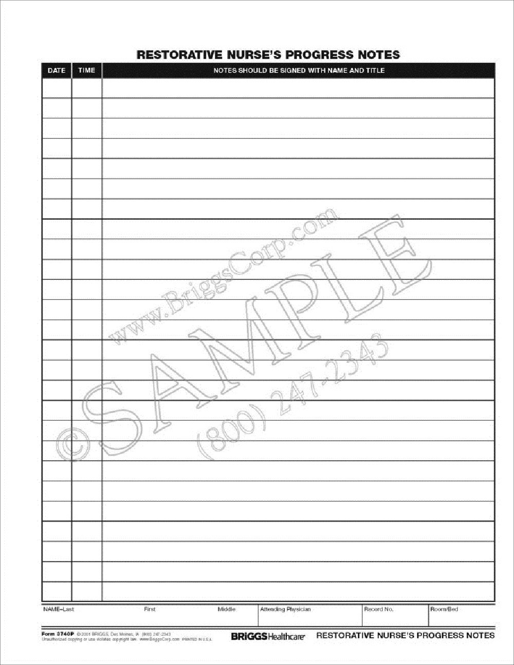 Briggs Healthcare Restorative Nurses Progress Notes Form - 100 Per Pad